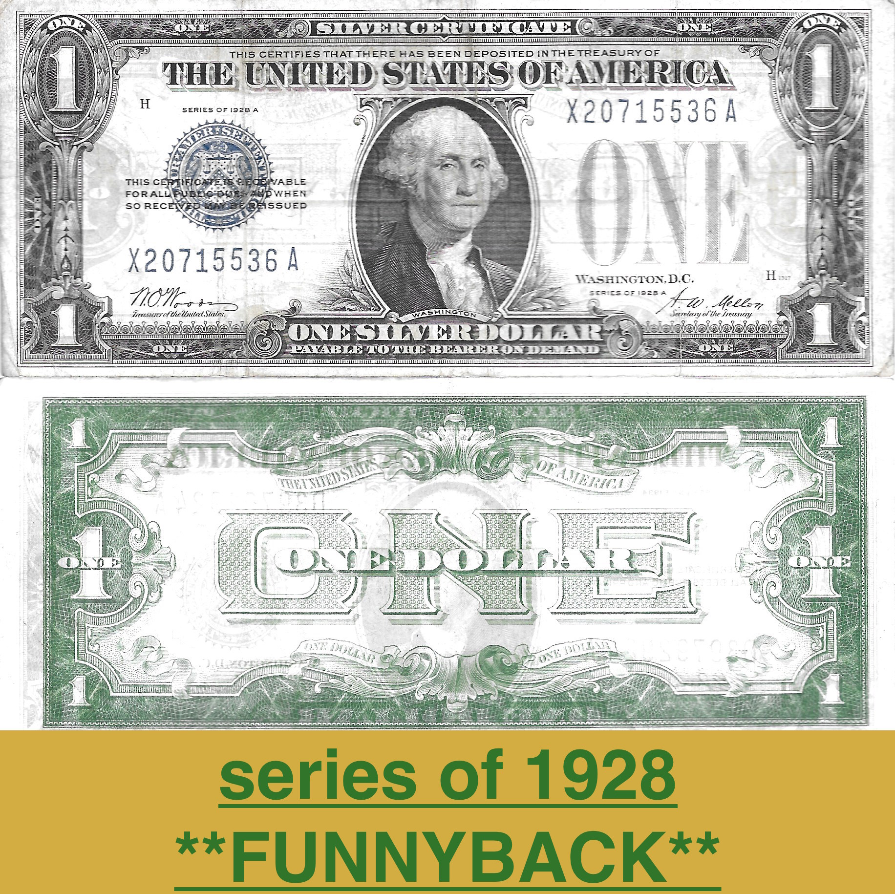 1 Silver Certificate Series Of 1928 Funnyback Vg