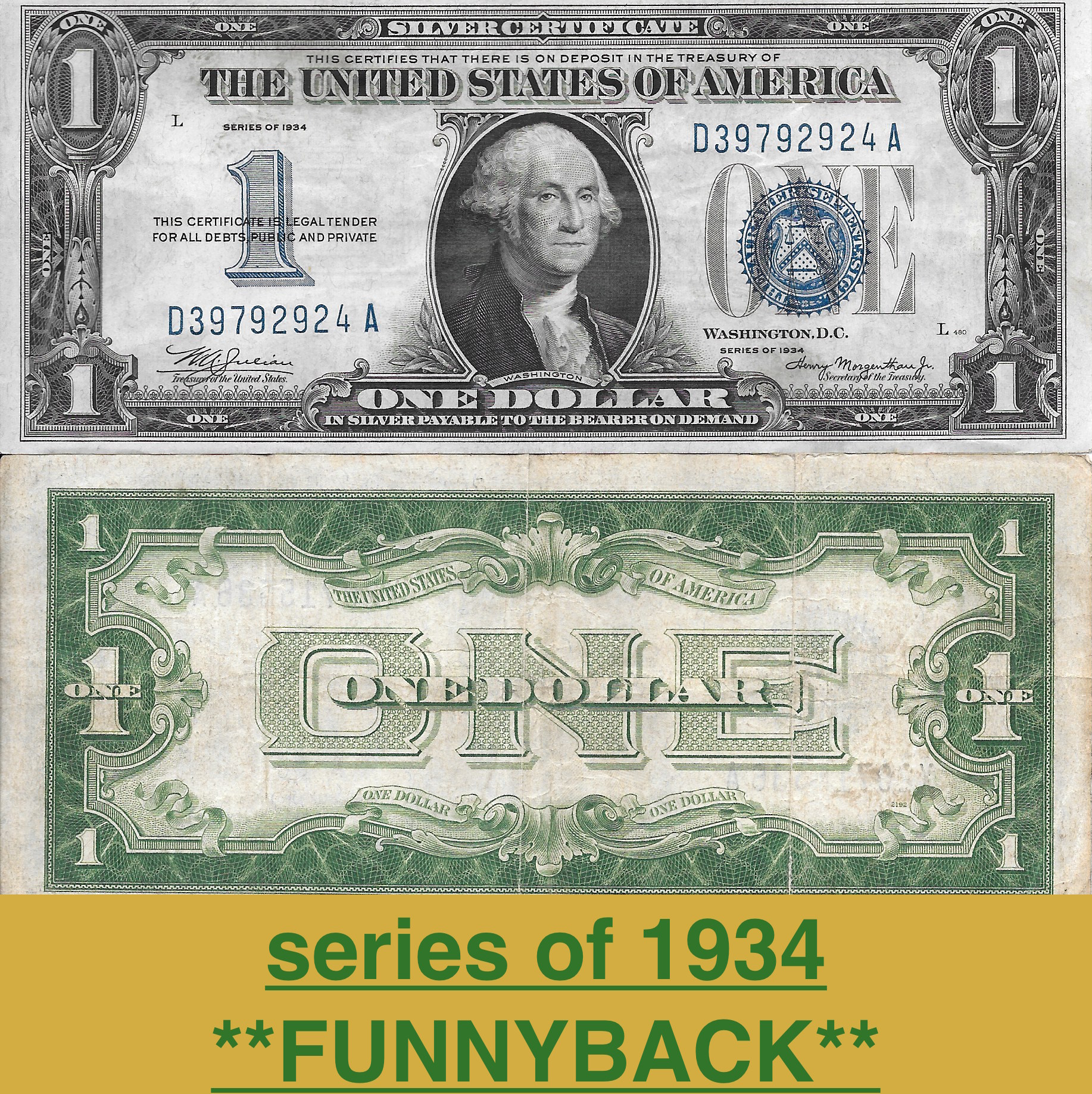 1 Silver Certificate Series Of 1934 Funnyback Vg