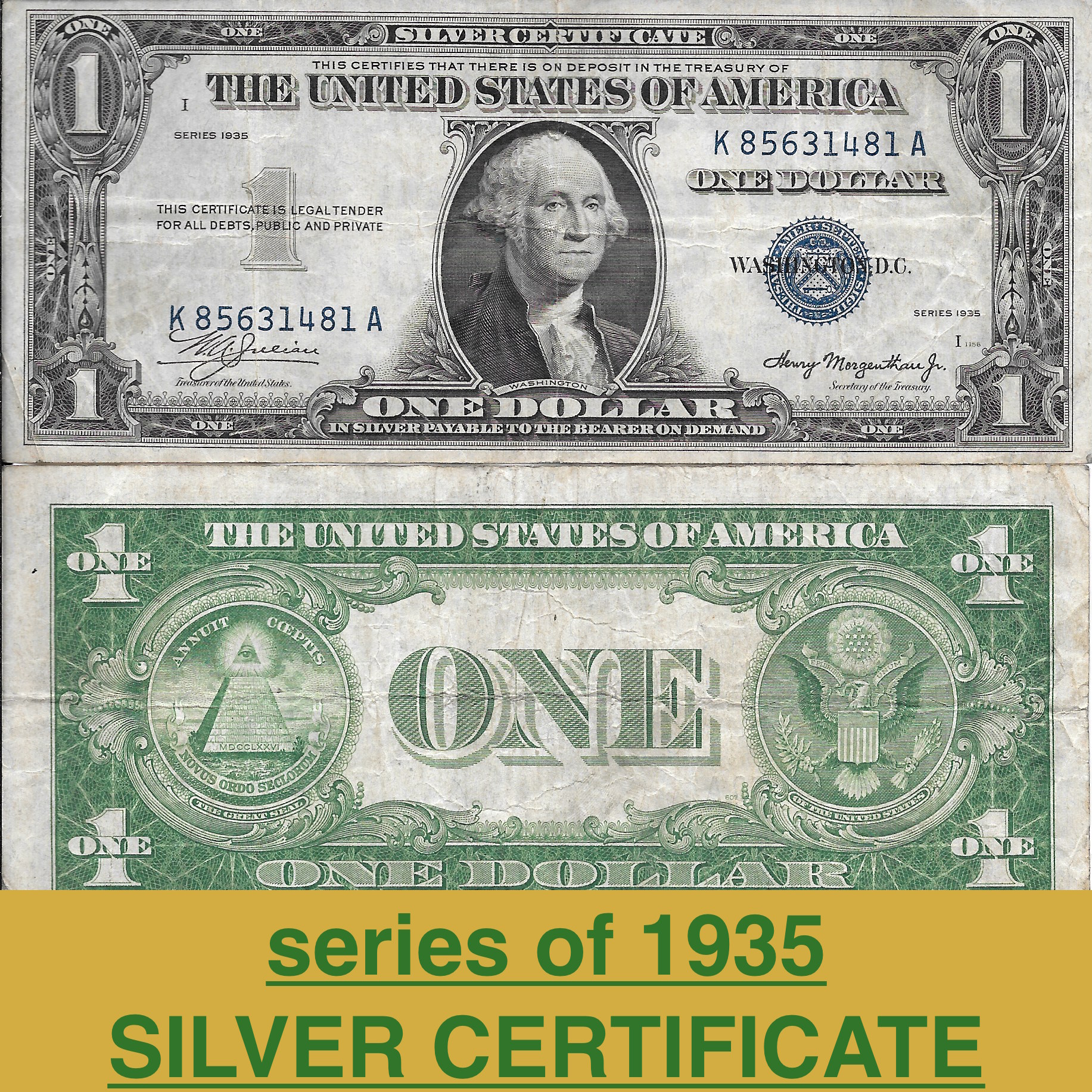$1 SILVER CERTIFICATE ****series of 1935**** V.GOOD/V.FINE - Alan\'s ...