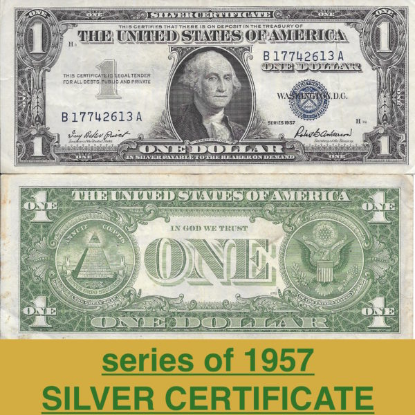 1957 avg. condtion $1 silver certficate 1