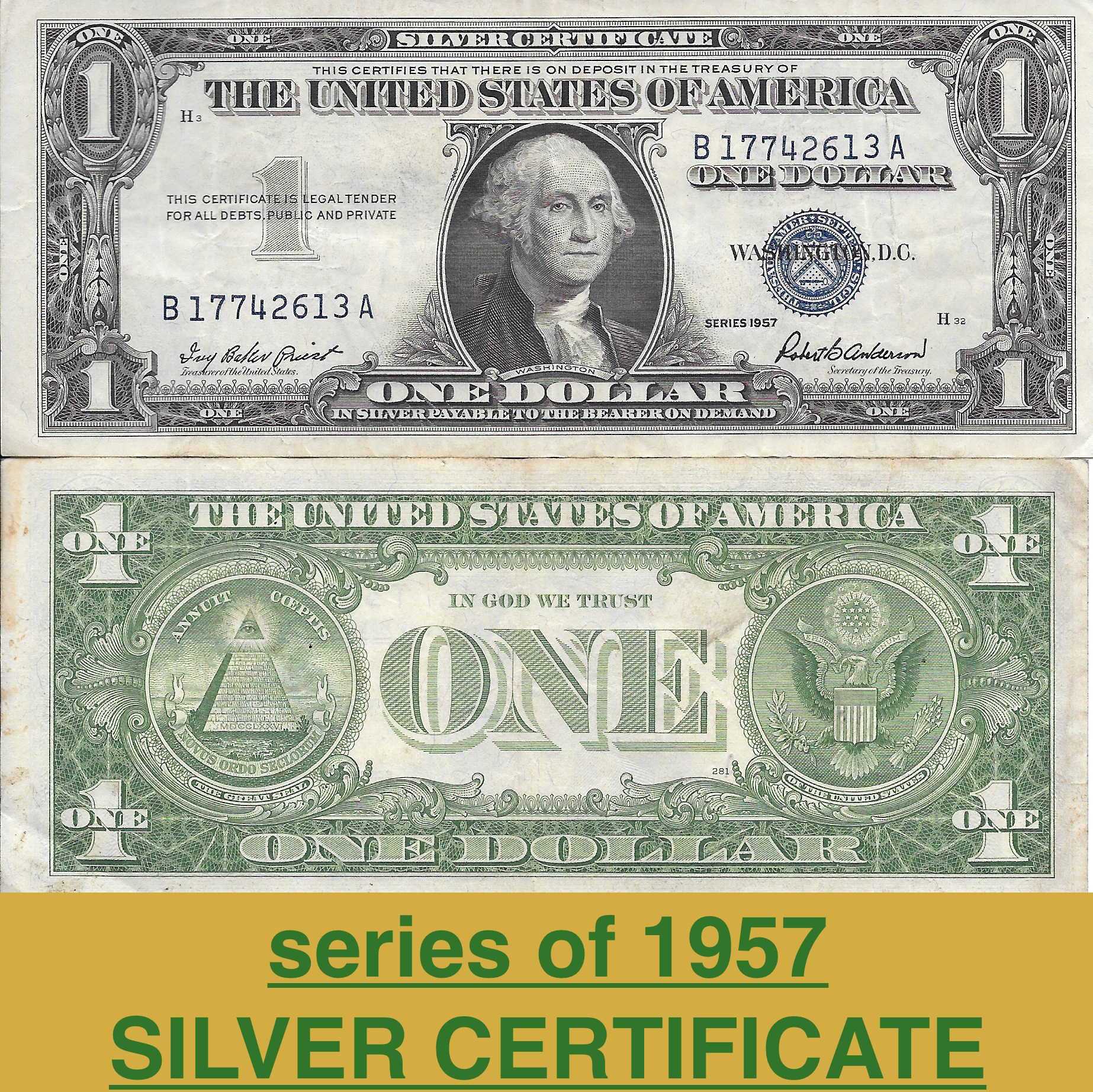 1 Silver Certificate Series Of 1957 Vgoodvne Alans